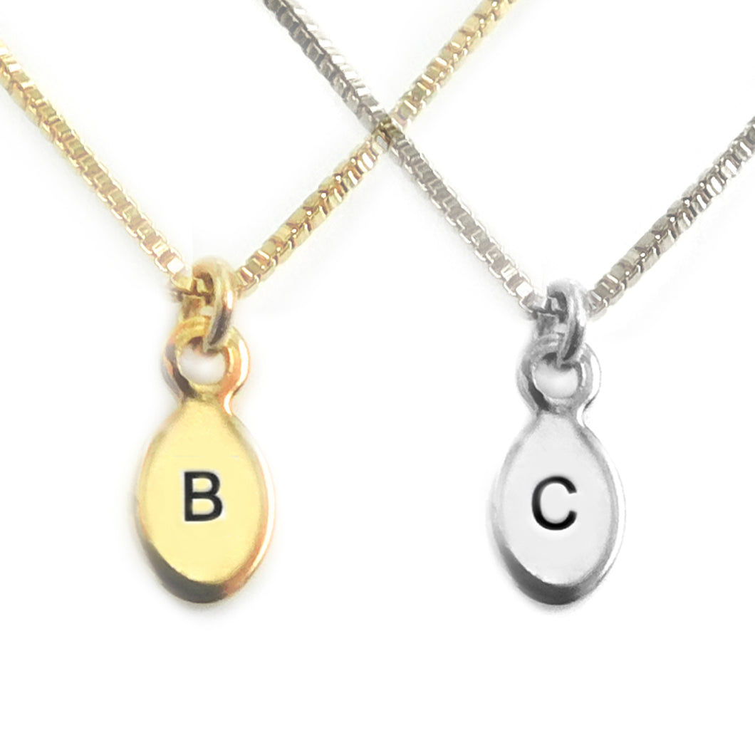 Barely There Silver or Gold Oval Tag Necklace