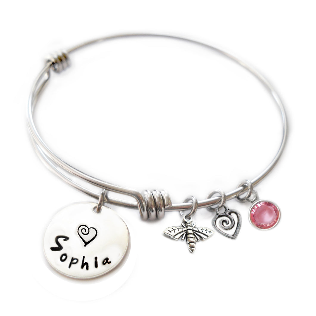 Personalized BUMBLEBEE Bangle Bracelet with Sterling Silver Name