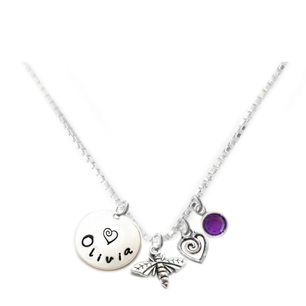 Personalized BUMBLEBEE Charm Necklace with Sterling Silver Name