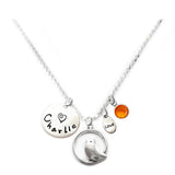 Personalized BIRD ON PERCH Charm Necklace with Sterling Silver Name