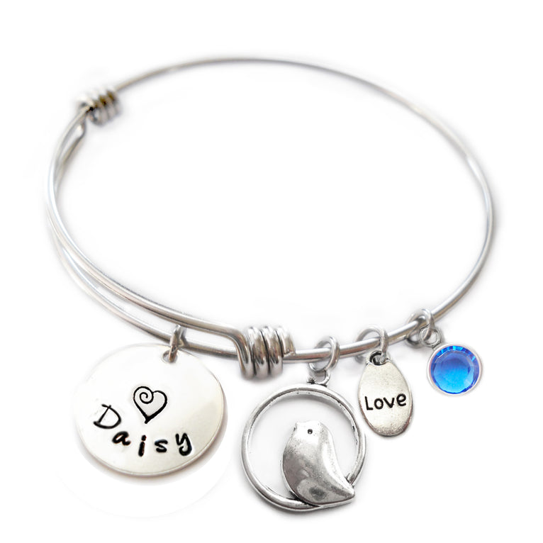 Personalized BIRD ON PERCH Bangle Bracelet with Sterling Silver Name