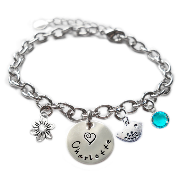Personalized BIRDIE Sterling Silver Name Charm Bracelet