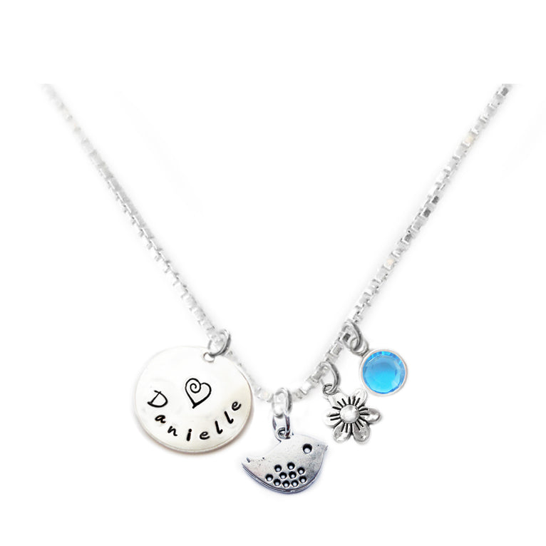 Personalized BIRDIE Charm Necklace with Sterling Silver Name