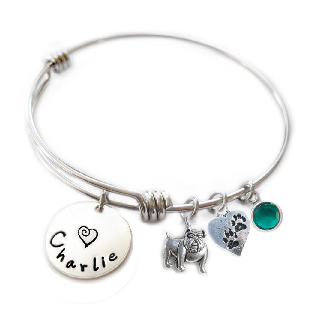 Personalized BULLDOG Bangle Bracelet  with Sterling Silver Name