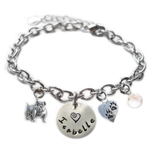 Load image into Gallery viewer, Personalized BULLDOG Sterling Silver Name Charm Bracelet