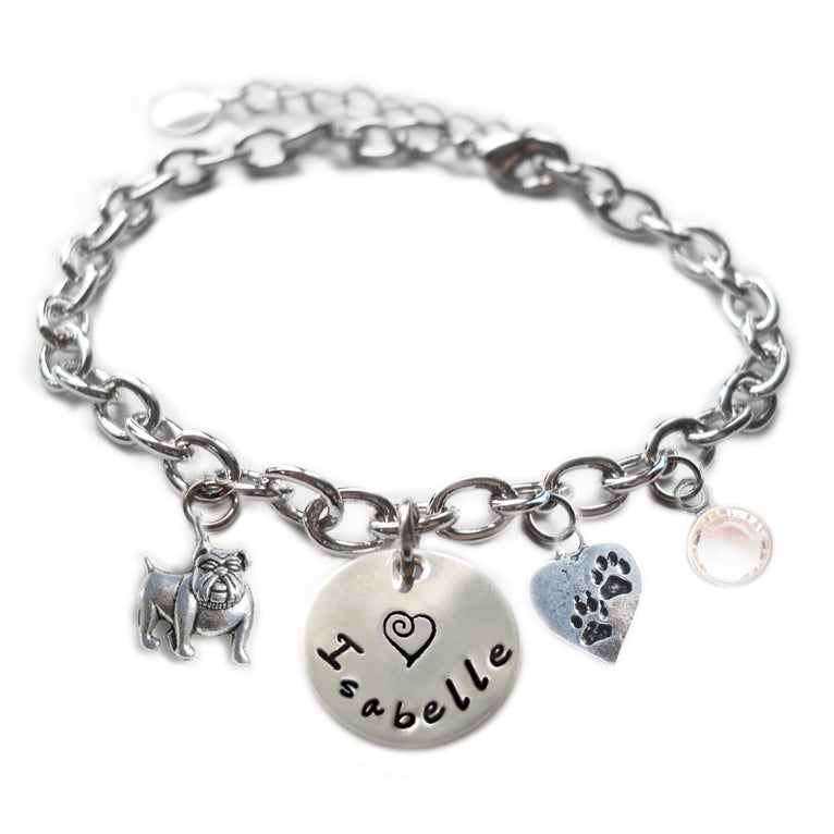 Personalized BULLDOG Sterling Silver Name Charm Bracelet