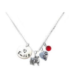 Load image into Gallery viewer, Personalized BULLDOG Charm Necklace with Sterling Silver Name