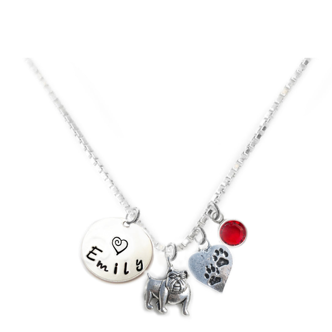 Personalized BULLDOG Charm Necklace with Sterling Silver Name