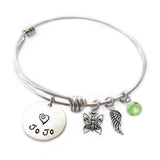 Personalized BUTTERFLY Bangle Bracelet with Sterling Silver Name
