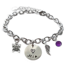Load image into Gallery viewer, Personalized BUTTERFLY Sterling Silver Name Charm Bracelet