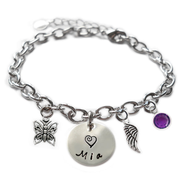 Personalized BUTTERFLY Sterling Silver Name Charm Bracelet