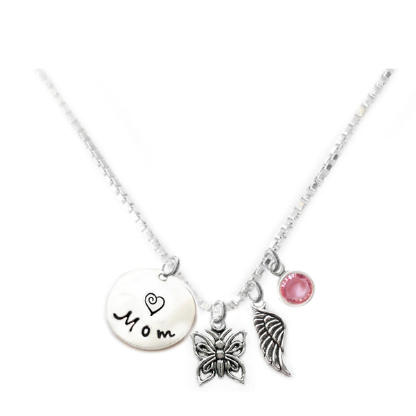 Personalized BUTTERFLY Charm Necklace with Sterling Silver Name