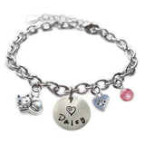 Personalized CUTIE CAT Sterling Silver Name Charm Bracelet