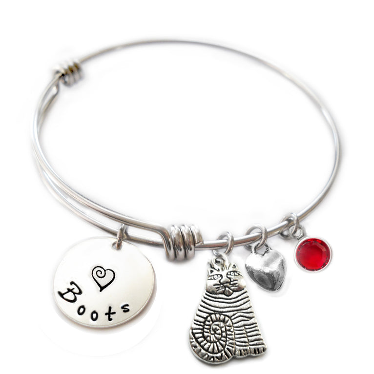 Personalized FAT CAT Bangle Bracelet with Sterling Silver Name