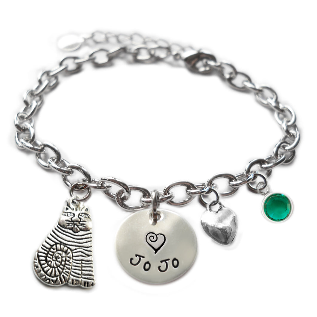 Personalized FAT CAT Sterling Silver Name Charm Bracelet