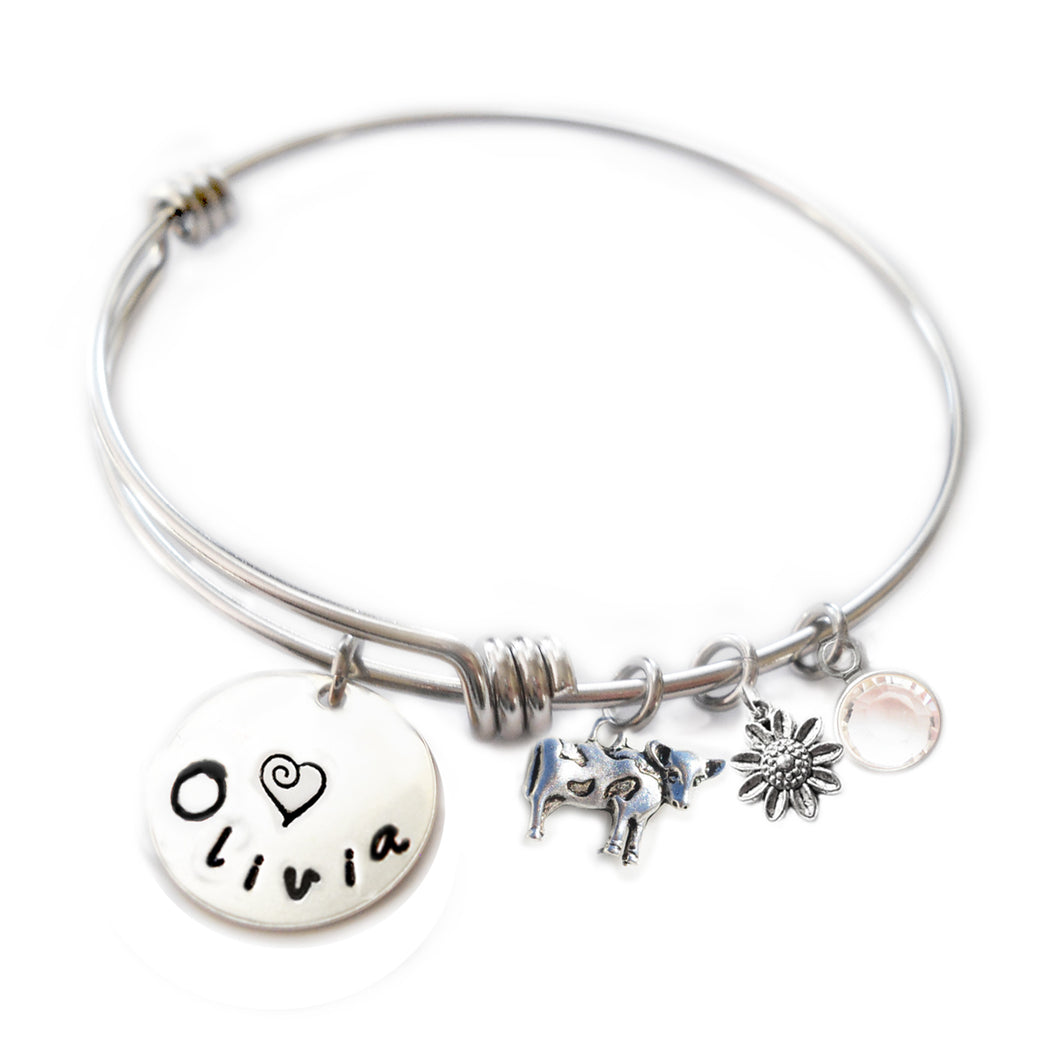 Personalized COW Bangle Bracelet with Sterling Silver Name