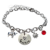 Personalized COW Sterling Silver Name Charm Bracelet