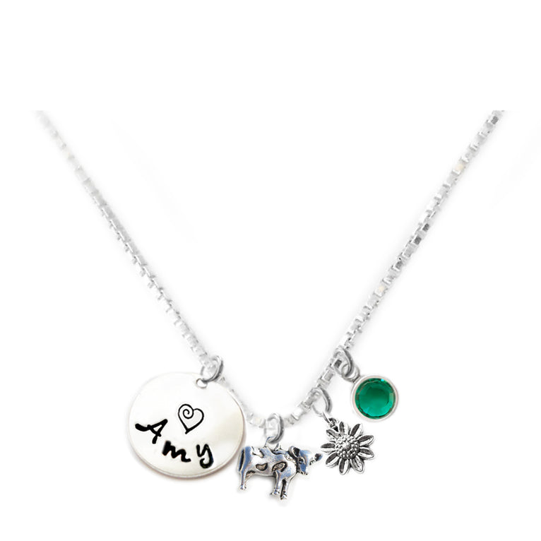 Personalized COW Charm Necklace with Sterling Silver Name