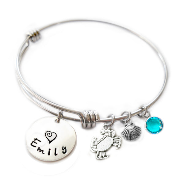 Personalized CRAB Bangle Bracelet with Sterling Silver Name