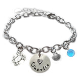 Personalized CRAB Sterling Silver Name Charm Bracelet