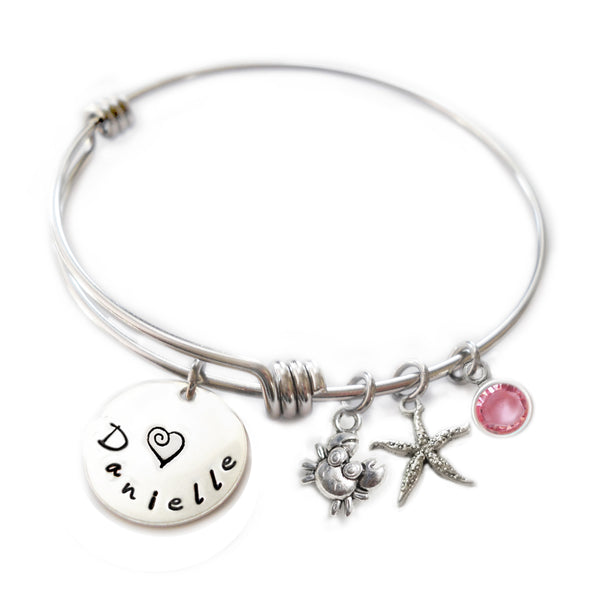 Personalized CUTIE CRAB Bangle Bracelet with Sterling Silver Name