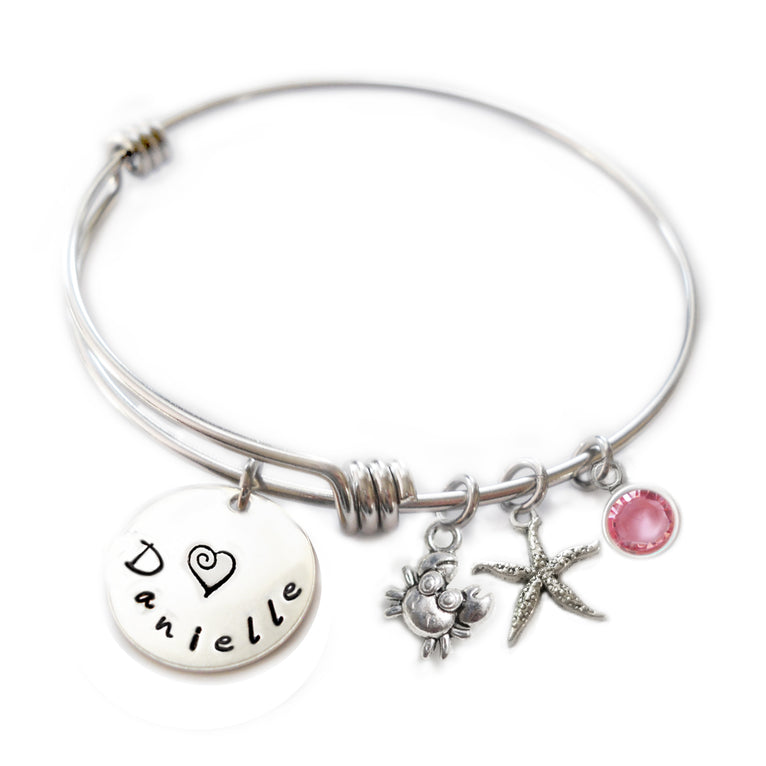 child personalized adjustable custom silver bangles bracelets bracelet buy hand a by crafted charm birthstone made stackable bangle designmejewelry mother