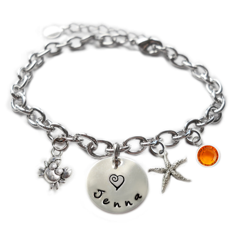 Personalized CUTIE CRAB Sterling Silver Name Charm Bracelet