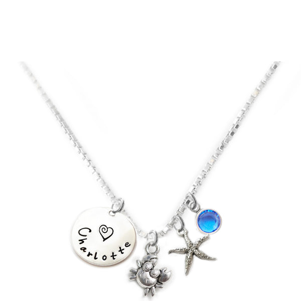 Personalized CUTIE CRAB Charm Necklace with Sterling Silver Name