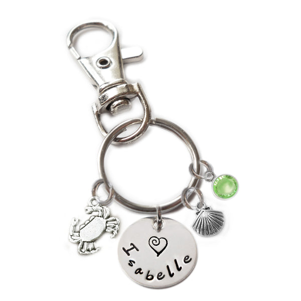 Personalized CRAB Swivel Key Clasp with Sterling Silver Name
