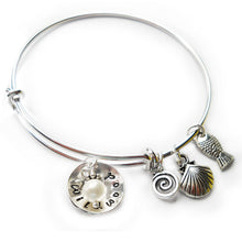 Load image into Gallery viewer, Wildwood NJ Cupped Sterling Beach Bangle with Pearl
