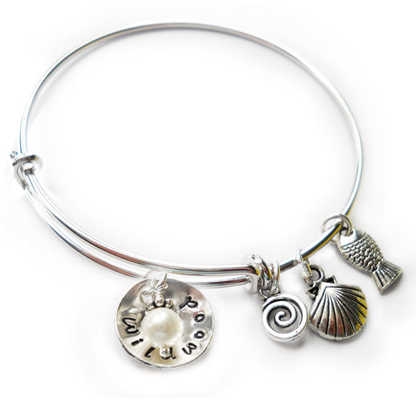 Wildwood NJ Cupped Sterling Beach Bangle with Pearl