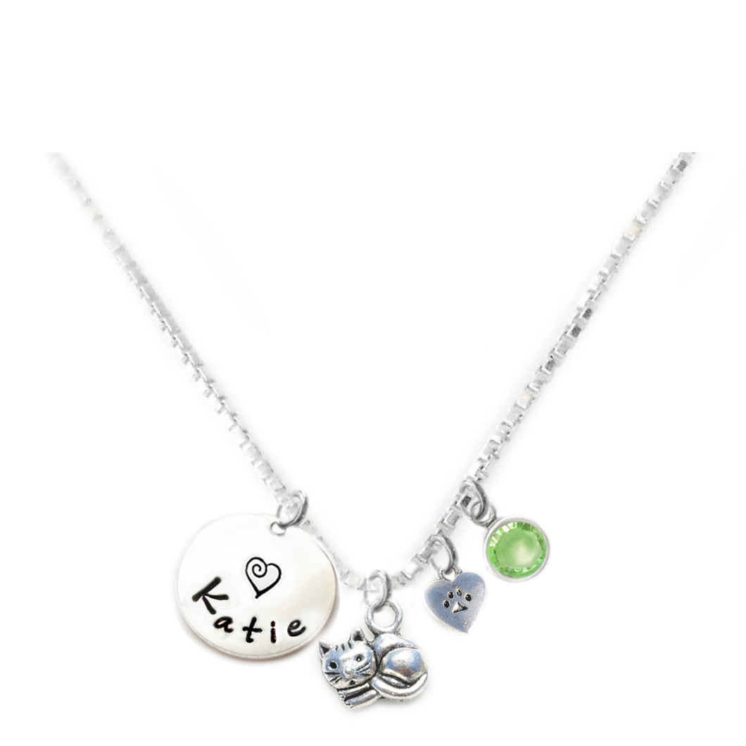 Personalized CUTIE CAT Charm Necklace with Sterling Silver Name