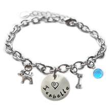 Load image into Gallery viewer, Personalized DOG AND BONE Sterling Silver Name Charm Bracelet