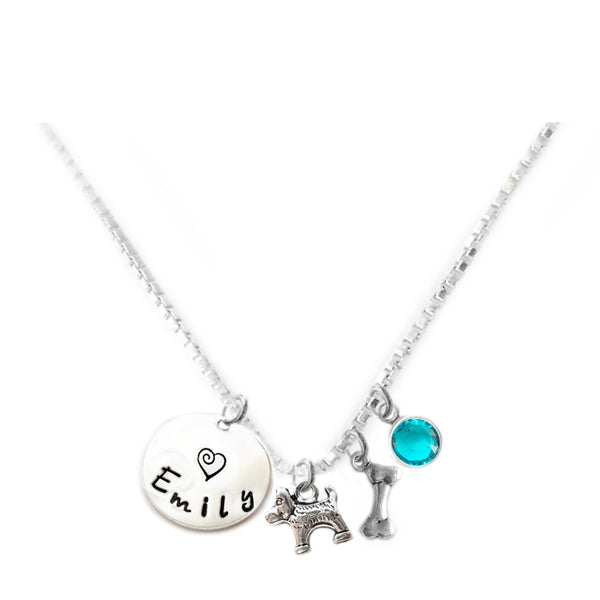 Personalized DOG AND BONE Charm Necklace with Sterling Silver Name