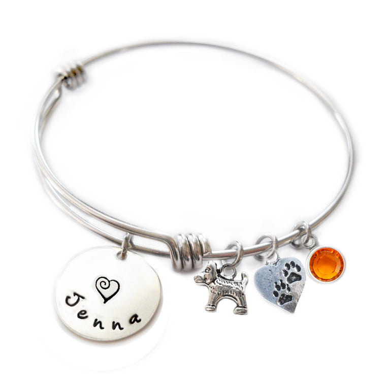 Personalized DOG AND PAWS Bangle Bracelet with Sterling Silver Name