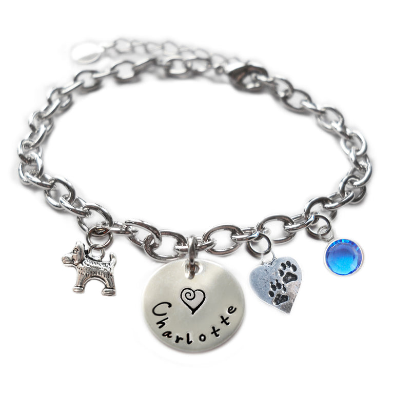 Personalized DOG AND PAWS Sterling Silver Name Charm Bracelet