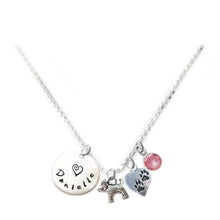 Load image into Gallery viewer, Personalized DOG AND PAWS Charm Necklace with Sterling Silver Name