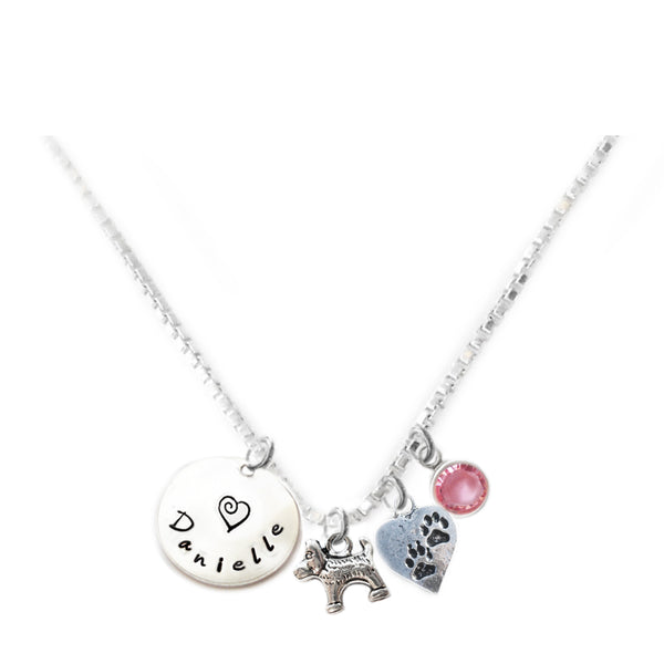 Personalized DOG AND PAWS Charm Necklace with Sterling Silver Name