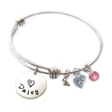 Load image into Gallery viewer, Personalized ITTY BITTY DOGGIE AND HEART PAW Bangle Bracelet with Sterling Silver Name