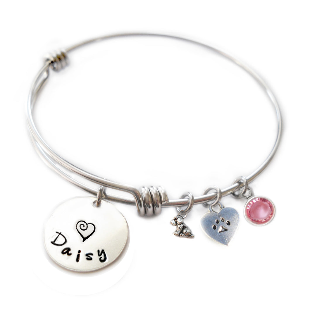 Personalized ITTY BITTY DOGGIE AND HEART PAW Bangle Bracelet with Sterling Silver Name