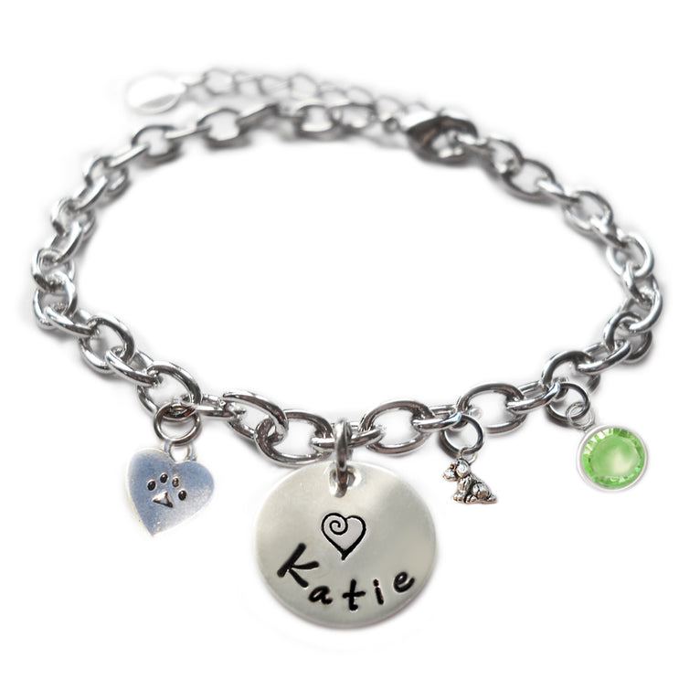 Personalized ITTY BITTY DOG AND HEART PAW Sterling Silver Name Charm Bracelet