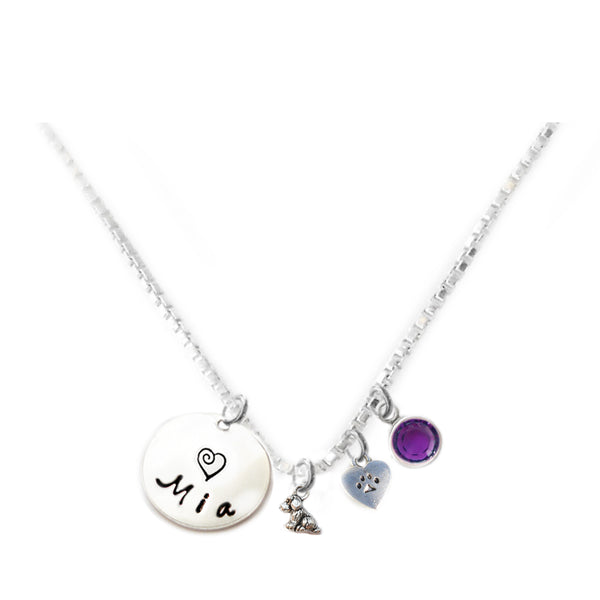 Personalized ITTY BITTY DOG AND HEART PAW Charm Necklace with Sterling Silver Name