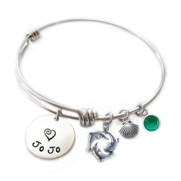 Personalized DOLPHINS Bangle Bracelet with Sterling Silver Name