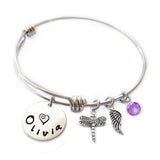 Personalized DRAGONFLY Bangle Bracelet with Sterling Silver Name