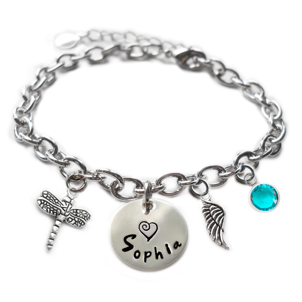 Personalized Dragonfly Sterling Silver Name Charm Bracelet