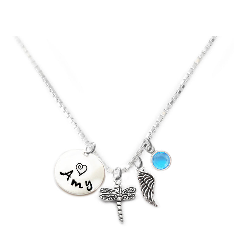 Personalized DRAGONFLY Charm Necklace with Sterling Silver Name