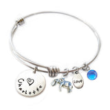 Personalized ELEPHANT Bangle Bracelet with Sterling Silver Name