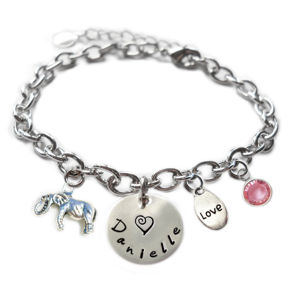 Personalized ELEPHANT Sterling Silver Name Charm Bracelet