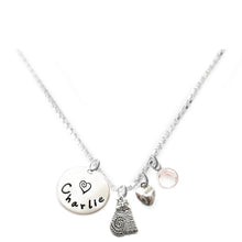 Load image into Gallery viewer, Personalized FAT CAT Charm Necklace with Sterling Silver Name
