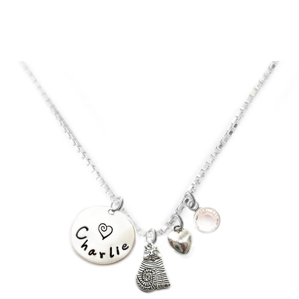 Personalized FAT CAT Charm Necklace with Sterling Silver Name